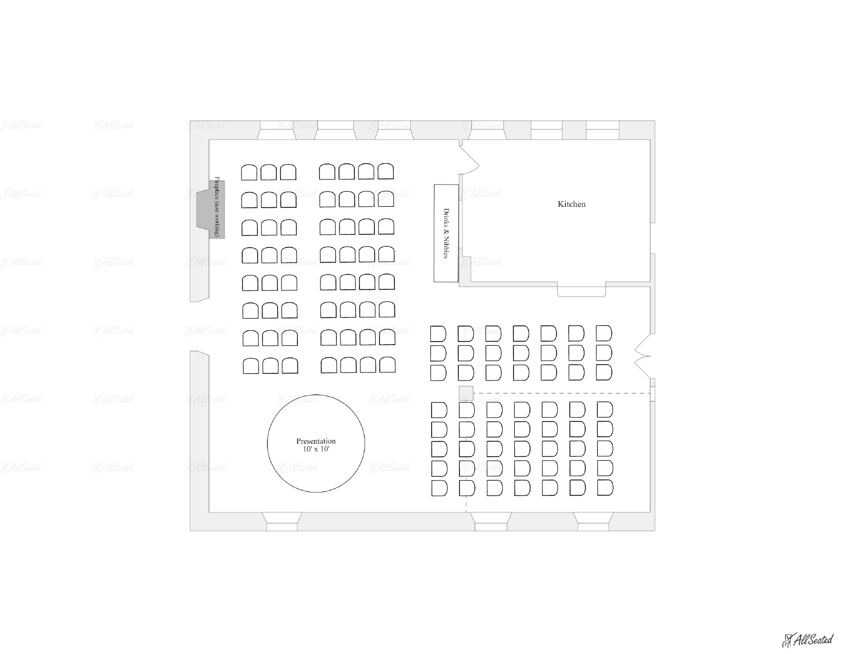 Corporate retreat or lecture seating for 112