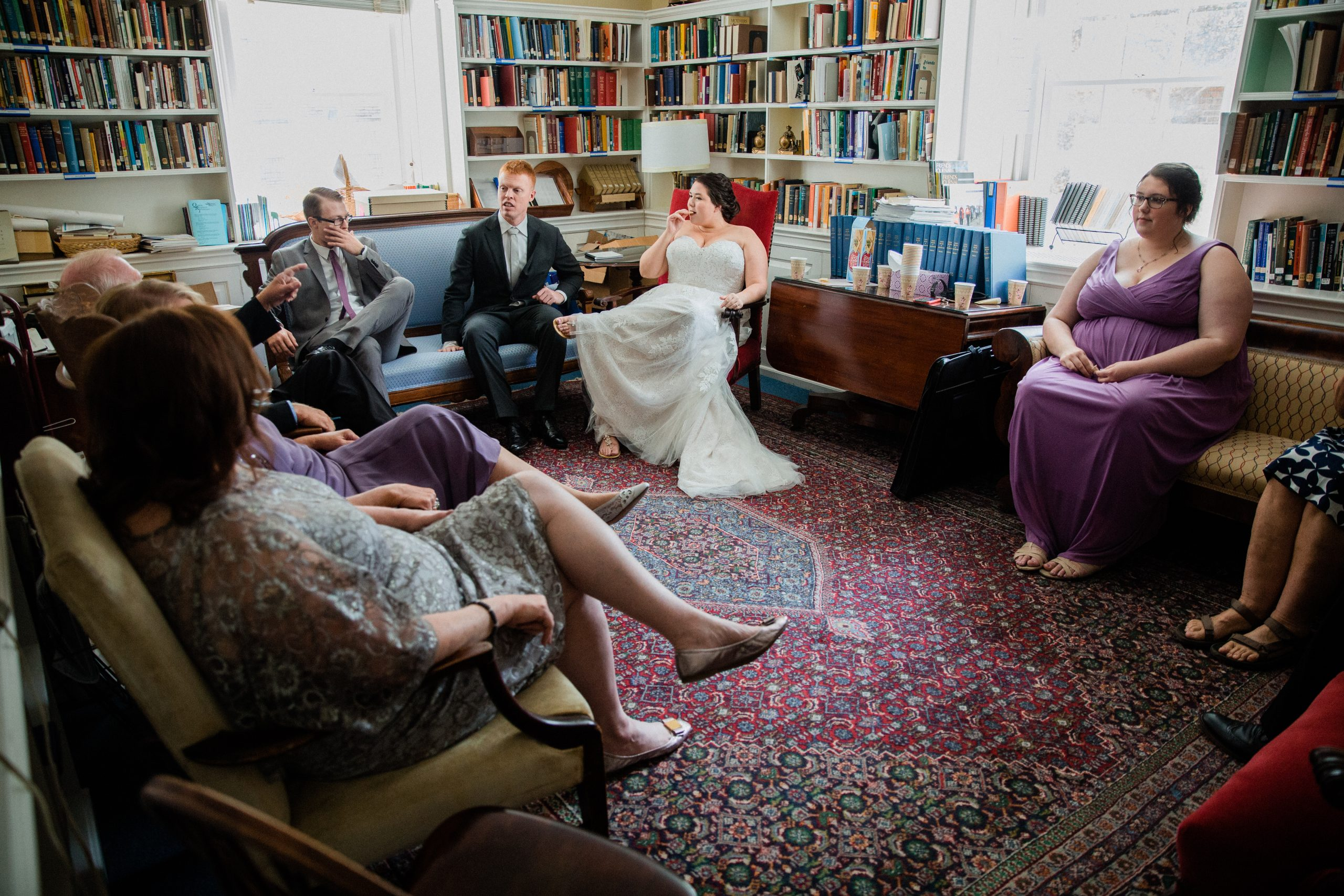 A wedding party waits for the ceremony to begin